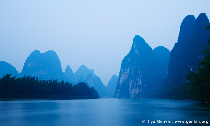 landscapes stock photography | Yellow Cloth Shoal at Twilight, Xingping, Yangshuo, China, Image ID CHINA-YANGSHUO-XINGPING-0004