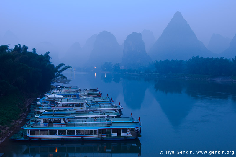 landscapes stock photography | Early Morning on Li River Near Yangshuo, Yangshuo, China, Image ID CHINA-YANGSHUO-XINGPING-0005