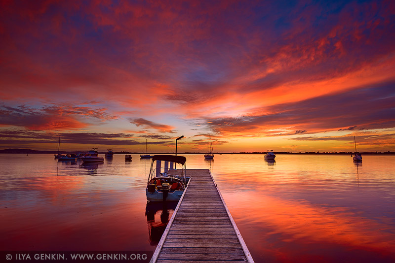 landscapes stock photography | Sunrise at Wangi Point Jetty, Wangi Wangi, Lake Macquarie, NSW, Australia, Image ID AU-LAKE-MACQUARIE-0001