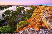 landscapes stock photography | Murray River Cliffs at Dawn, Big Bend, Murray River, South Australia, Australia, Image ID AU-MURRAY-RIVER-0007. Photographing the Murray river cliffs at sunset is one of the 'must do' things while you are travelling in Riverland or along the Murray River. Capture the colours of red ochre cliffs as the spring sun sets on the Murray River.