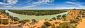 landscapes stock photography | Murray River Panorama Near Heading's Cliff, Renmark Paringa District, Riverland, South Australia, Australia, Image ID AU-MURRAY-RIVER-0010. At a Heading's Cliffs lookout near Renmark in South Australia you can admire the marvellous Murray River view and magnificent Golden Limestone Cliffs, and rest at the camping area developed in the Murtho Forest Reserve. It's situated along the Paringa-Murtho Road, about 15 or so kilometres north east of Renmark. It's easy to find - head to Renmark and turn right towards Paringa. Cross the Paringa bridge, enter the township of Paringa and almost immediately you'll see a sign 'Murtho' indicating left.  Keep following this road and you'll see a sign 'Murtho Forest' on the left. A sealed road leads to the entrance of the reserve and then it's a reasonably well maintained dirt road down the hill and into the reserve proper.