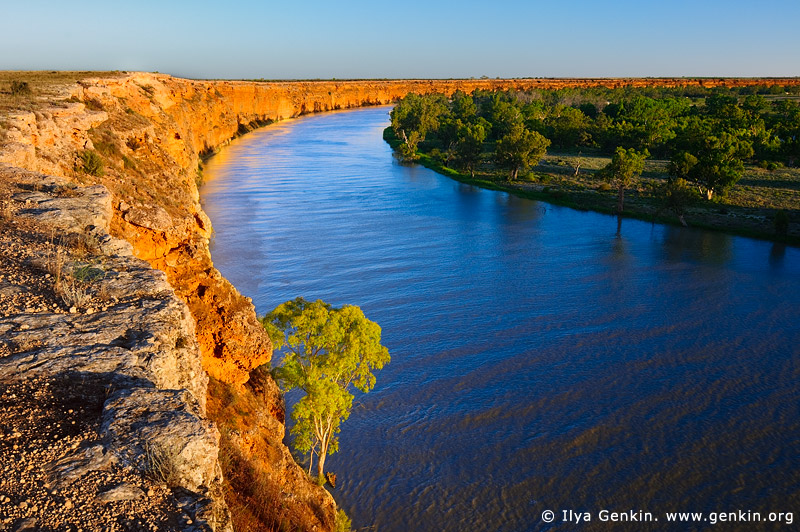 landscapes stock photography | Big Bend at Sunset, Murray River, South Australia, Australia, Image ID AU-MURRAY-BIG-BEND-0001