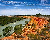 landscapes stock photography | Murray River from Heading's Cliff Lookout, Renmark Paringa District, Riverland, South Australia, Australia, Image ID AU-MURRAY-RIVER-0004. From the lookout tower at Heading's Cliffs near Renmark and Paringa in South Australia you can admire the marvellous view of the Murray River and magnificent Golden Limestone Cliffs. It is a very popular lookout and photography spot along the Murray river. The Heading's Cliff Lookout Tower is named in honour of the 4 generations of the Heading Families who lived on section 17, Hundred of Murtho adjacent to this site. The re-dedication of the tower took place on the 2nd July 1991 by the then Governor General of South Australia, Her Excellency the Honourable Dame Roma Mitchell, AC, OBE.