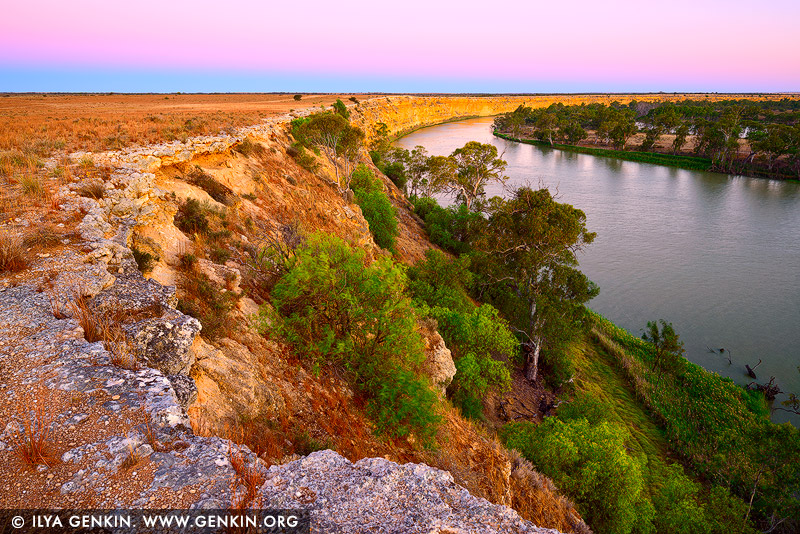 landscapes stock photography | Murray River Cliffs at Twilight, Big Bend, Murray River, South Australia, Australia