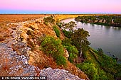 landscapes stock photography | Murray River Cliffs at Twilight, Big Bend, Murray River, South Australia, Australia, Image ID AU-MURRAY-RIVER-0006. The Murray River has its own mesmerising riverside gorge, comparable to Northern Territory's Katherine Gorge - Big Bend. Stop there for a moment and enjoy watching a spectacular sunset over the Murray River and Big Bend Cliffs as they change colour at sunset. The spectacular Big Bend cliffs Murray River's tallest and oldest cliffs; they've stood there for more than 20 million years.