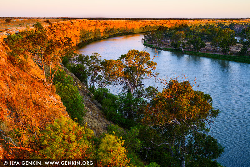 landscapes stock photography | Big Bend at Sunset, Murray River, South Australia, Australia, Image ID AU-MURRAY-RIVER-0009
