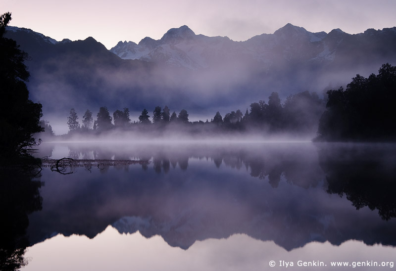 Mt Tasman and Aoraki/Mt Cook reflected in Lake Matheson, Lake Matheson, South Westland, South Island, New Zealand