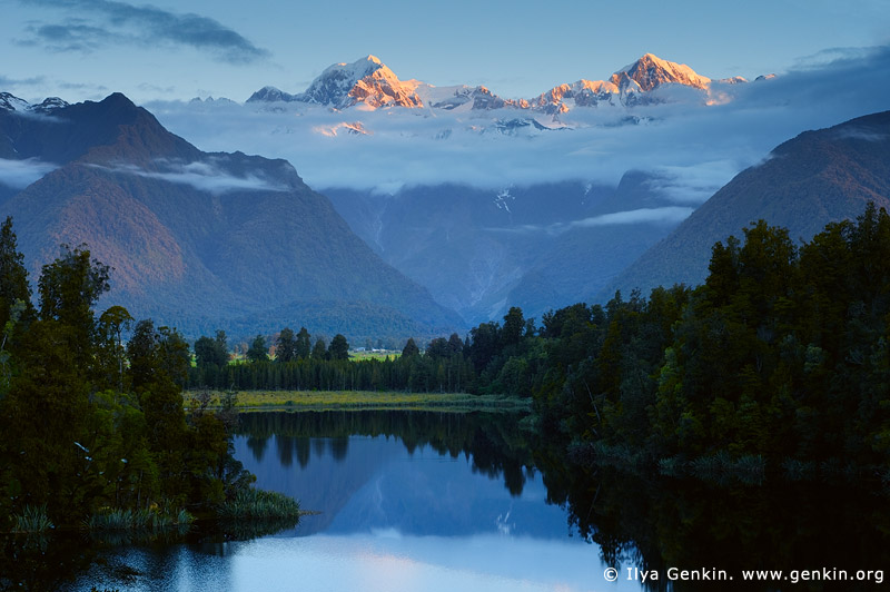 landscapes stock photography | Mt Tasman and Aoraki/Mt Cook at Sunset, Lake Matheson, South Westland, South Island, New Zealand, Image ID NZ-LAKE-MATHESON-0002