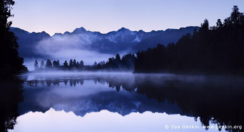 landscapes stock photography | Panorama of Lake Matheson at Sunrise, Lake Matheson, South Westland, South Island, New Zealand