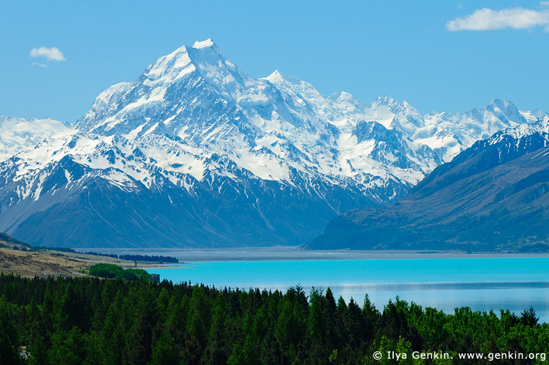 landscapes stock photography | Aoraki/Mount Cook from Lake Pukaki, Mackenzie Region, Southern Alps, South Island, New Zealand