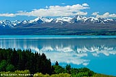 landscapes stock photography | Mountain Range Reflected in Lake Pukaki, Mackenzie Region, Southern Alps, South Island, New Zealand, Image ID NZ-LAKE-PUKAKI-0002.