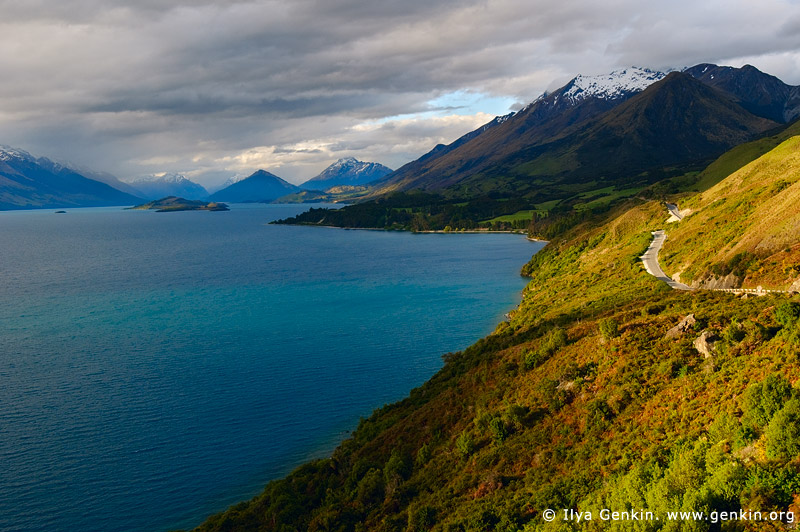 landscapes stock photography | Looking up the Lake Wakatipu Towards Glenorchy at Sunset, Queenstown, Lakes District, Otago, South Island, New Zealand, Image ID NZ-LAKE-WAKATIPU-0001