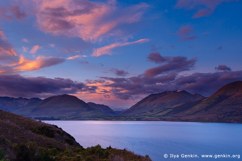 landscapes stock photography | South Part of Thomson Mountains and Lake Wakatipu at Sunrise, Queenstown, Lakes District, Otago, South Island, New Zealand, Image ID NZ-LAKE-WAKATIPU-0002