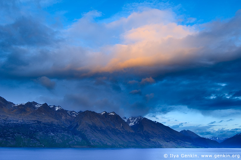 landscapes stock photography | Thomson Mountains and Lake Wakatipu at Dawn, Queenstown, Lakes District, Otago, South Island, New Zealand, Image ID NZ-LAKE-WAKATIPU-0004