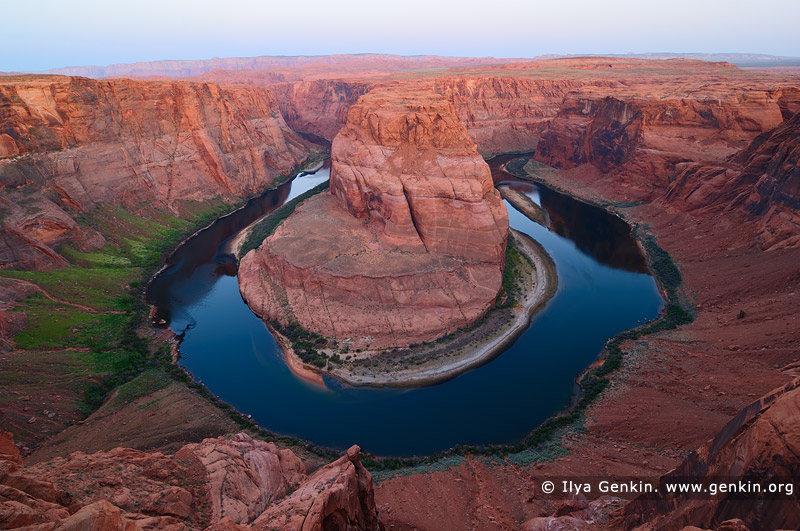 landscapes stock photography | Horseshoe Bend at Twilight, Page, Arizona, USA, Image ID US-ARIZONA-HORSESHOE-BEND-0001