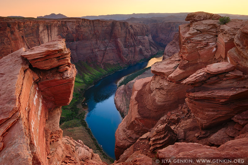 landscapes stock photography | Unusual View of the Horseshoe Bend at Sunset, Page, Arizona, USA, Image ID US-ARIZONA-HORSESHOE-BEND-0004