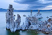landscapes stock photography | Lake Mono at Twilight, Mono Lake Tufa State Reserve, Eastern Sierra, Mono County, California, USA, Image ID USA-LAKE-MONO-0002. Tufa towers at the South Tufa Area, Mono Lake Tufa State Natural Reserve, Mono Lake, California. Tufa is formed when springs under the lake mix calcium-rich freshwater with alkaline lakewater, precipitating deposits of calcium carbonate. The lake level has dropped more than 30 feet since 1941, when the city of Los Angeles began diverting water from the streams that feed it, exposing the formerly submerged tufa.
