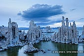 landscapes stock photography | Lake Mono at Dusk, Mono Lake Tufa State Reserve, Eastern Sierra, Mono County, California, USA, Image ID USA-LAKE-MONO-0006. Stock photo of the cold sunset light covered unique tufa formations at the South Tufa Area, Mono Lake in California.