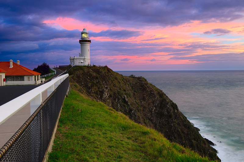 lighthouses stock photography | Storm Clouds above Cape Byron Lighthouse at Sunrise, Byron Bay, New South Wales (NSW), Australia, Image ID AU-BYRON-BAY-LIGHTHOUSE-0001