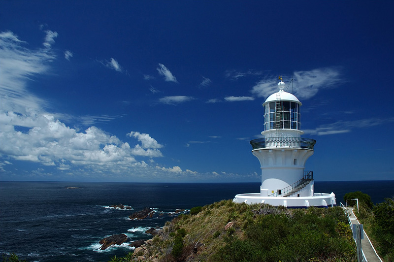 lighthouses stock photography | The Seal Rocks Lighthouse , Seal Rocks, Sugarloaf Point, Great Lakes, NSW, Image ID AULH0006