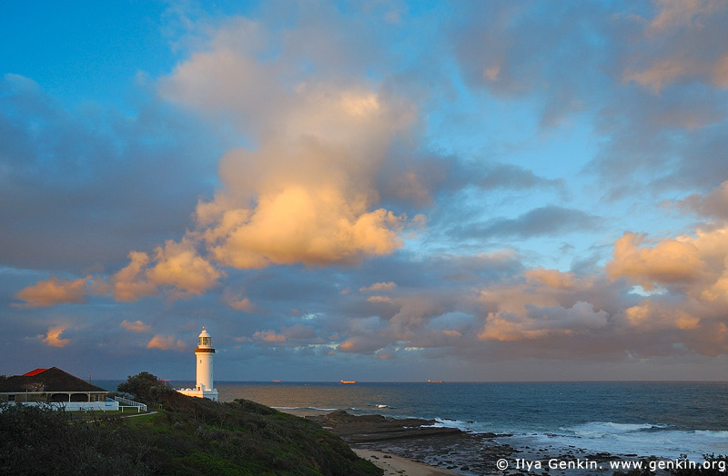 lighthouses stock photography | The Norah Head Lighthouse at Sunset, Central Coast, Norah Head, NSW, Image ID AULH0019