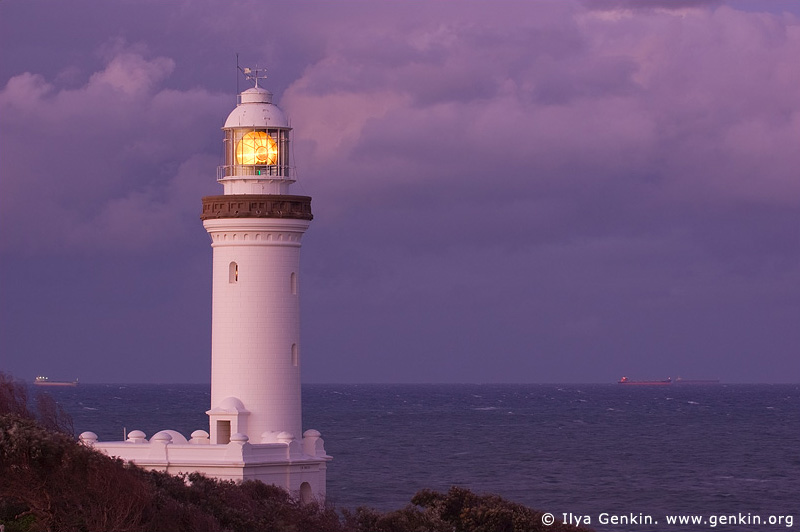 lighthouses stock photography | The Norah Head Lighthouse at Dusk, Central Coast, Norah Head, NSW, Image ID AULH0020