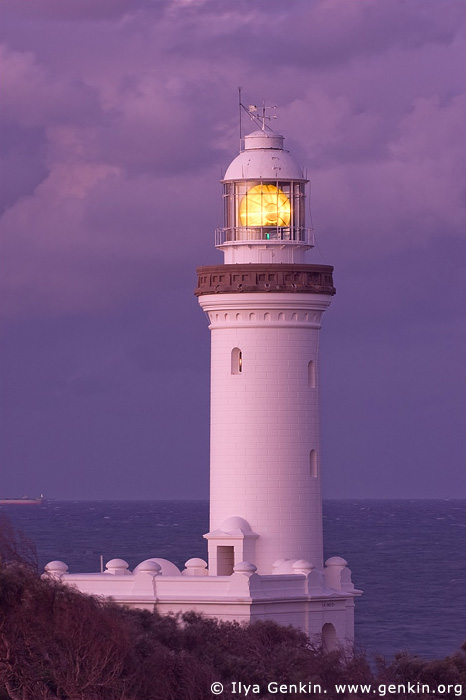 lighthouses stock photography | The Norah Head Lighthouse at Dusk, Central Coast, Norah Head, NSW, Image ID AULH0022