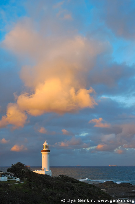 lighthouses stock photography   The Norah Head Lighthouse at Sunset, Central Coast, Norah Head, NSW, Image ID AULH0023