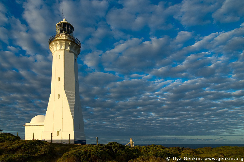 lighthouses stock photography | The Green Cape Lighthouse at Sunset, Ben Boyd National Park, NSW, Australia, Image ID AULH0031
