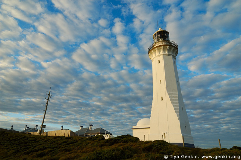 lighthouses stock photography | The Green Cape Lighthouse at Sunset, Ben Boyd National Park, NSW, Australia, Image ID AULH0033
