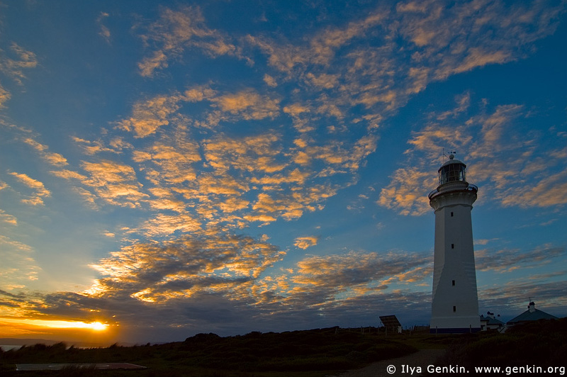 lighthouses stock photography | The Green Cape Lighthouse at Sunset, Ben Boyd National Park, NSW, Australia, Image ID AULH0036