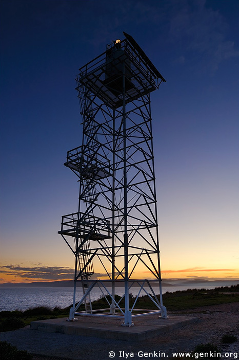 lighthouses stock photography | Beacon near The Green Cape Lighthouse at Sunset, Ben Boyd National Park, NSW, Australia, Image ID AULH0037