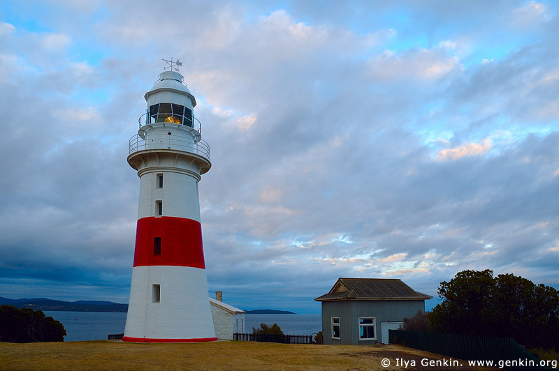 lighthouses stock photography | The Low Head Lighthouse at Dawn, George Town, Tamar River, Tasmania, Australia, Image ID AULH0043