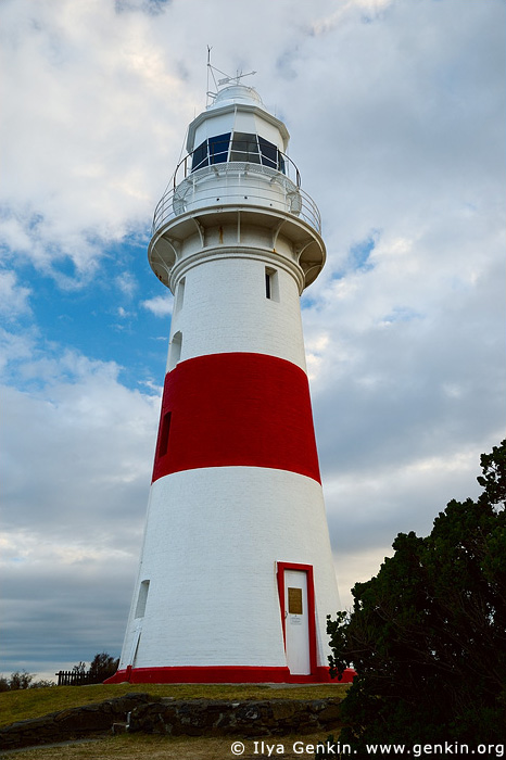 lighthouses stock photography   The Low Head Lighthouse at Dawn, George Town, Tamar River, Tasmania, Australia, Image ID AULH0044