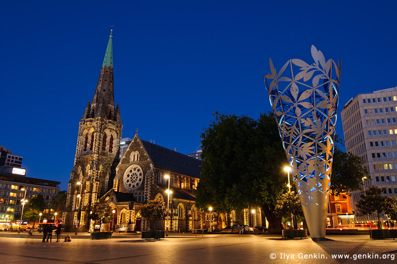 stock photography | ChristChurch Cathedral and The Chalice at Night, Cathedral Square, Christchurch, Canterbury, New Zealand, Image ID NZ-CHRISTCHURCH-0001