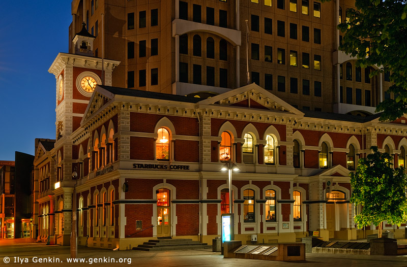 stock photography | Old Post Office (Now Starbuck's Coffee) at Dusk, Cathedral Square, Christchurch, Canterbury, New Zealand, Image ID NZ-CHRISTCHURCH-0004