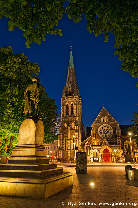 stock photography | ChristChurch Cathedral and John Robert Godley Statue at Night, Cathedral Square, Christchurch, Canterbury, New Zealand, Image ID NZ-CHRISTCHURCH-0005