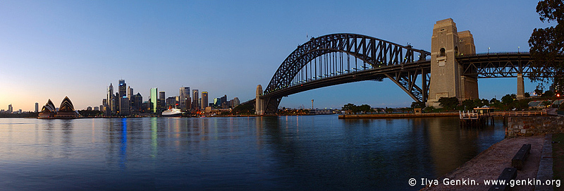 panoramas stock photography | Sydney CBD and Queen Elizabeth 2 at Sunrise, View from Kirribilli, Sydney, NSW, Image ID AUPA0004