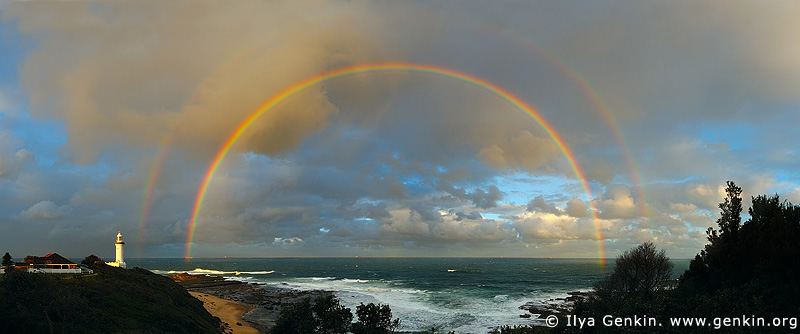 panoramas stock photography | Double Full Rainbows and The Norah Head Lighthouse at Sunset, Central Coast, Norah Head, NSW, Image ID AUPA0006