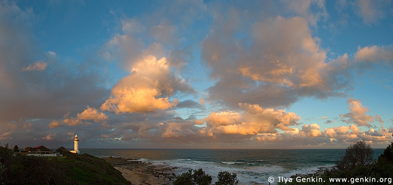 panoramas stock photography | The Norah Head Lighthouse at Sunset, Central Coast, Norah Head, NSW, Image ID AUPA0007