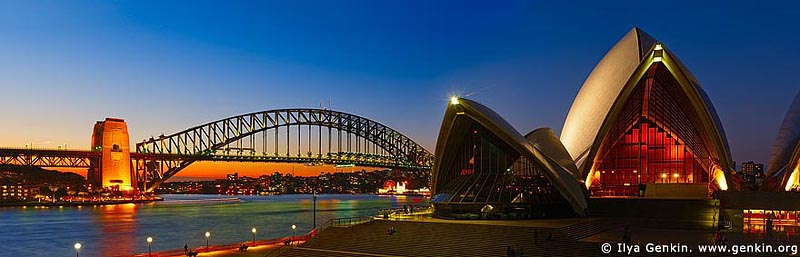 panoramas stock photography | The Sydney Opera House and the Harbour Bridge at Sunset, Sydney, NSW, Australia, Image ID AUPA0014