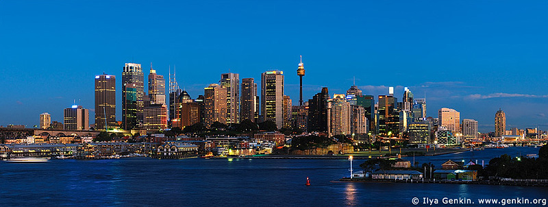 panoramas stock photography | Sydney City at Dusk, View from Balls Head, Sydney, NSW, Australia, Image ID AUPA0020