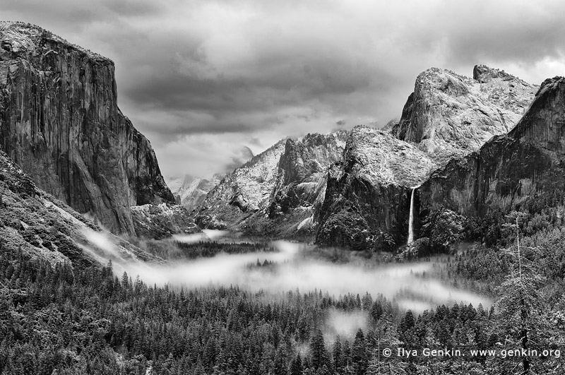 portfolio stock photography | Yosemite Valley and Bridalveil Falls from Tunnel View, Yosemite National Park, California, USA, Image ID AMERICAN-SOUTHWEST-BW-0001