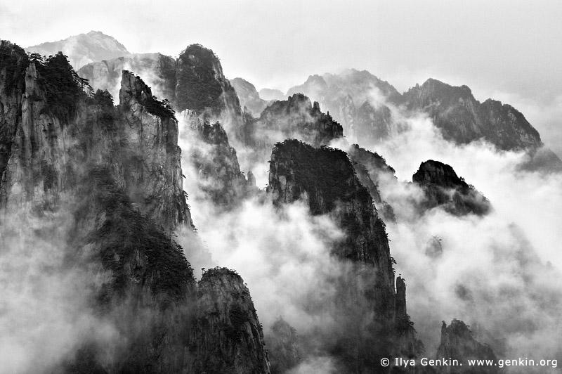 portfolio stock photography | Clouds Covered Huangshan Peaks, Cloud-dispelling Pavilion, Xihai (West Sea) Grand Canyon, Baiyun Scenic Area, Huangshan (Yellow Mountains), China, Image ID CHINA-BW-0001