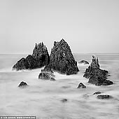 portfolio stock photography | Camel Rock, Bermagui, South Coast, NSW, Australia, Image ID AUSTRALIAN-COAST-BW-0008. Five minutes drive heading north from Bermagui (South Coast of NSW in Australia) along Wallaga Lake Road will bring you to the turn off to Camel Rock. This striking rock formation was identified and named by Bass and Flinders during the first mapping of the coastline of the colony of New South Wales. Camel Rock is a popular scenic attraction and a very popular photographic spot.