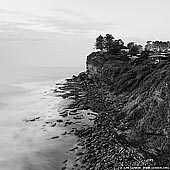 portfolio stock photography | Rocky Shore Near Avalon Beach at Dusk, Sydney, NSW, Australia, Image ID AUSTRALIAN-COAST-BW-0001. Fine art black and white square photo of the cliffs near the Avalon Beach in Sydney, NSW, Australia at dusk.