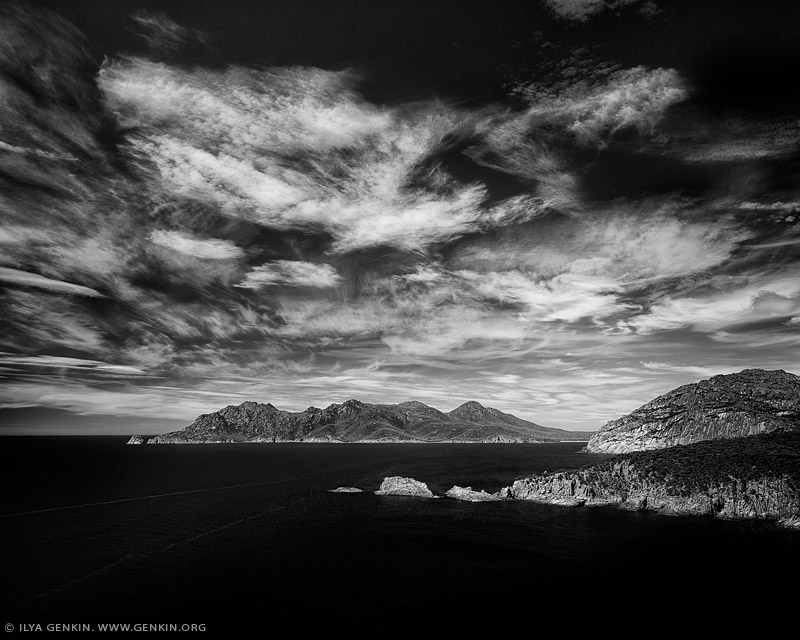 portfolio stock photography | Dramatic Sky Above Cape Tourville, Freycinet National Park, Tasmania (TAS), Australia, Image ID AUSTRALIAN-COAST-BW-0006