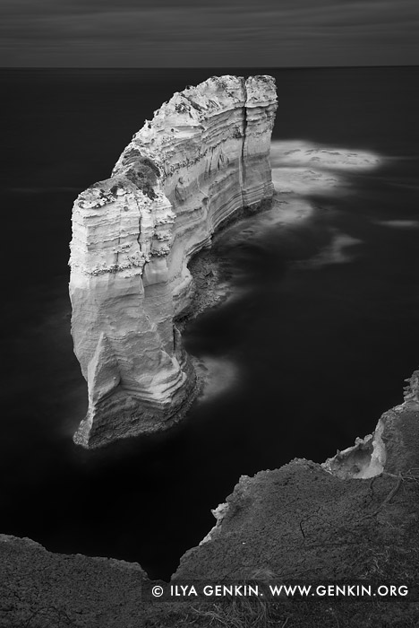 portfolio stock photography | The Razorback in Black and White, The Twelve Apostles, Great Ocean Road, Port Campbell National Park, Victoria, Australia, Image ID GREAT-OCEAN-ROAD-BW-0001