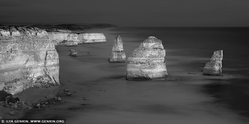 portfolio stock photography | The Twelve Apostles in Black and White, The Twelve Apostles, Great Ocean Road, Port Campbell National Park, Victoria, Australia, Image ID GREAT-OCEAN-ROAD-BW-0007