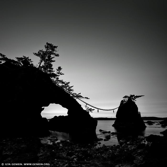 portfolio stock photography   Hatago Iwa #1 (Married Rocks), Togihitsumi, Shika, Hakui District, Ishikawa Prefecture, Japan, Image ID JAPAN-HATAGO-IWA-0001